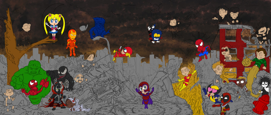Chibi Mural – Color Progress 1